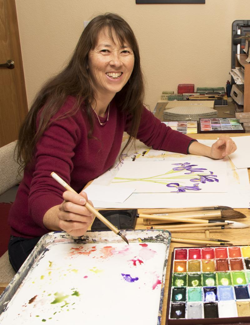 Artist Annette Makino in her Arcata studio.