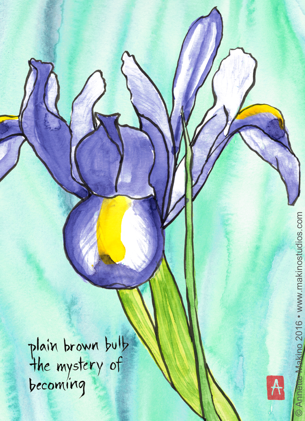"""""""plain brown bulb"""" is 8x10, painted with sumi ink and Japanese watercolors on paper and digitally edited. It is available as a  birthday card reading """"happy birthday to the one and only you.""""  © Annette Makino 2016"""