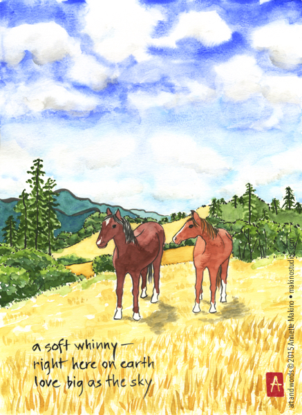 """""""a soft whinny"""" is 11x14, painted with Japanese watercolors and sumi ink on paper. There is also a  greeting card  version that reads, """"love you big as the sky."""" © Annette Makino 2015"""