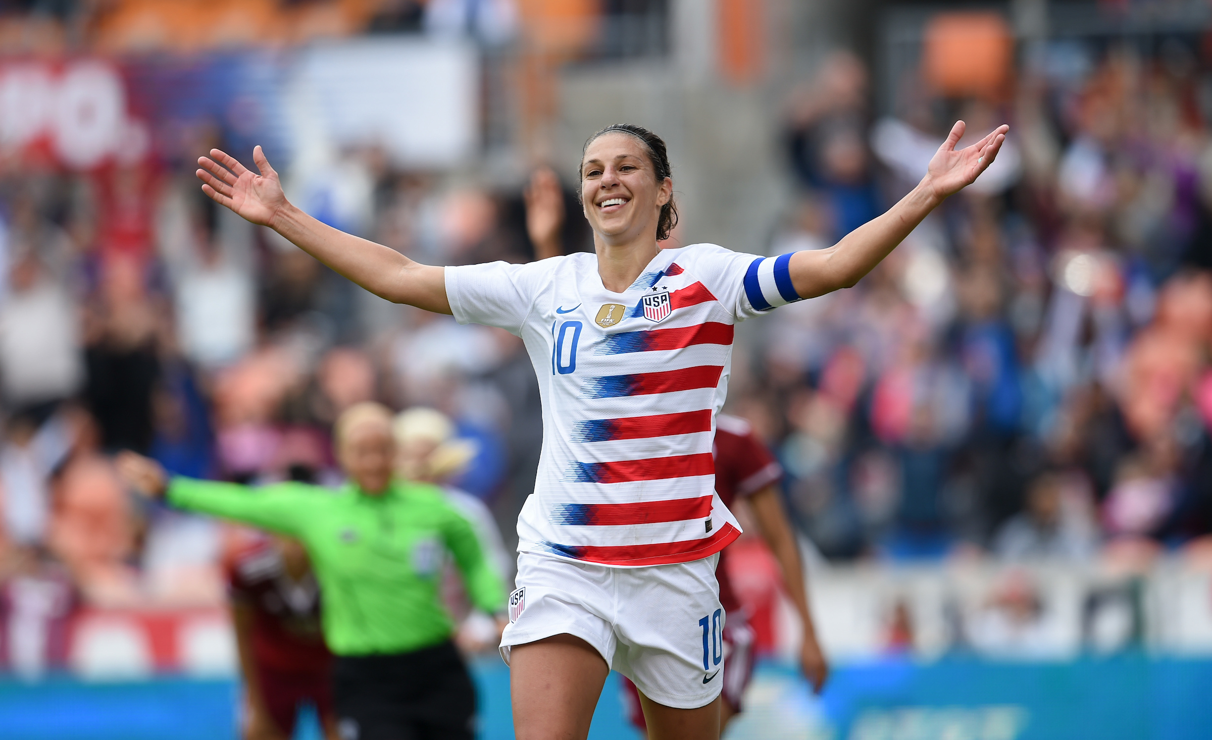 Houston, TX - Sunday April 8, 2018: Carli Lloyd celebrates her 100th career goal during an International friendly match versus the women's National teams of the United States (USA) and Mexico (MEX) at BBVA Compass Stadiu