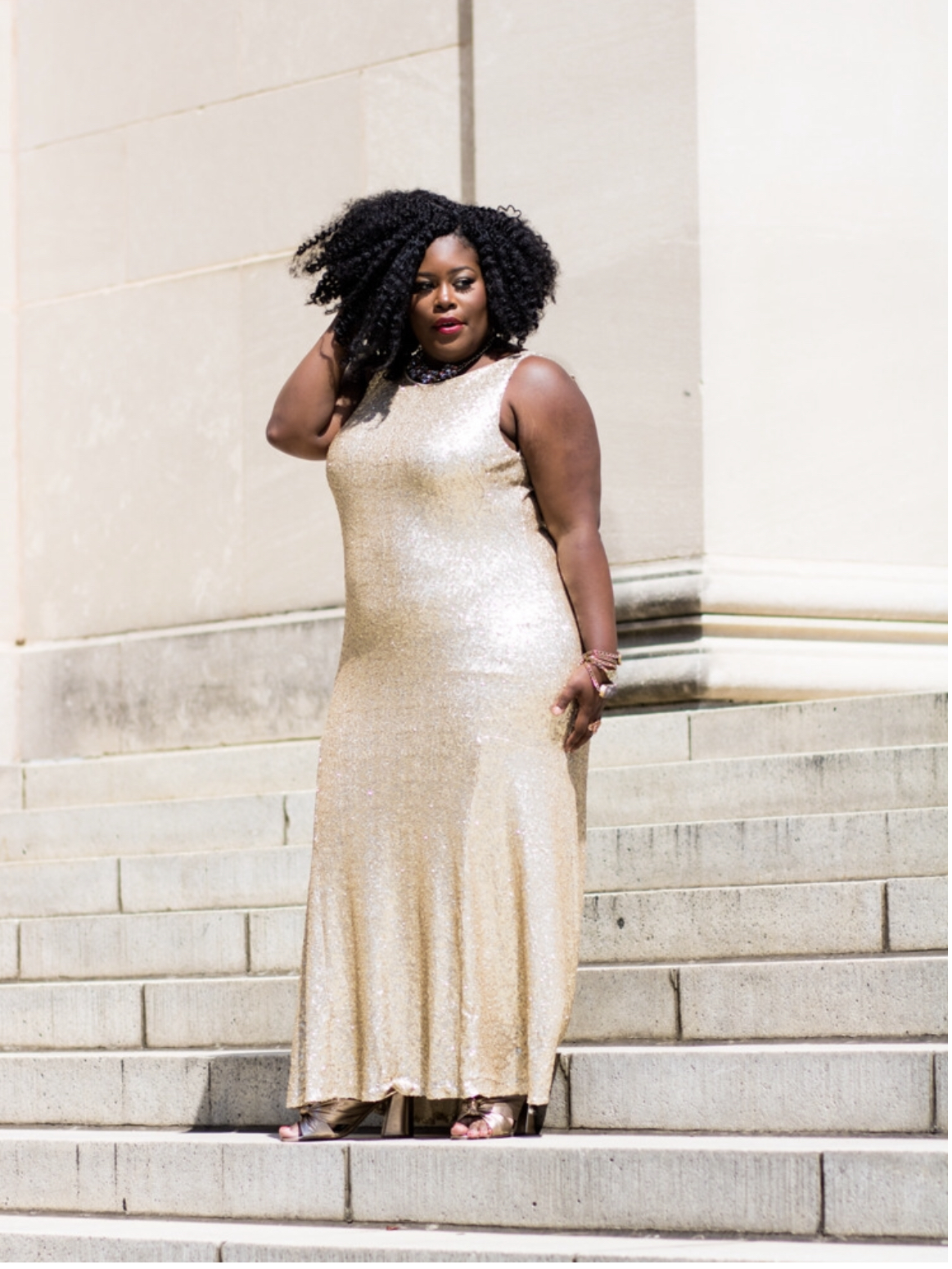 Me in a gorgeous Theia gown from Rent The Runway, that fits.
