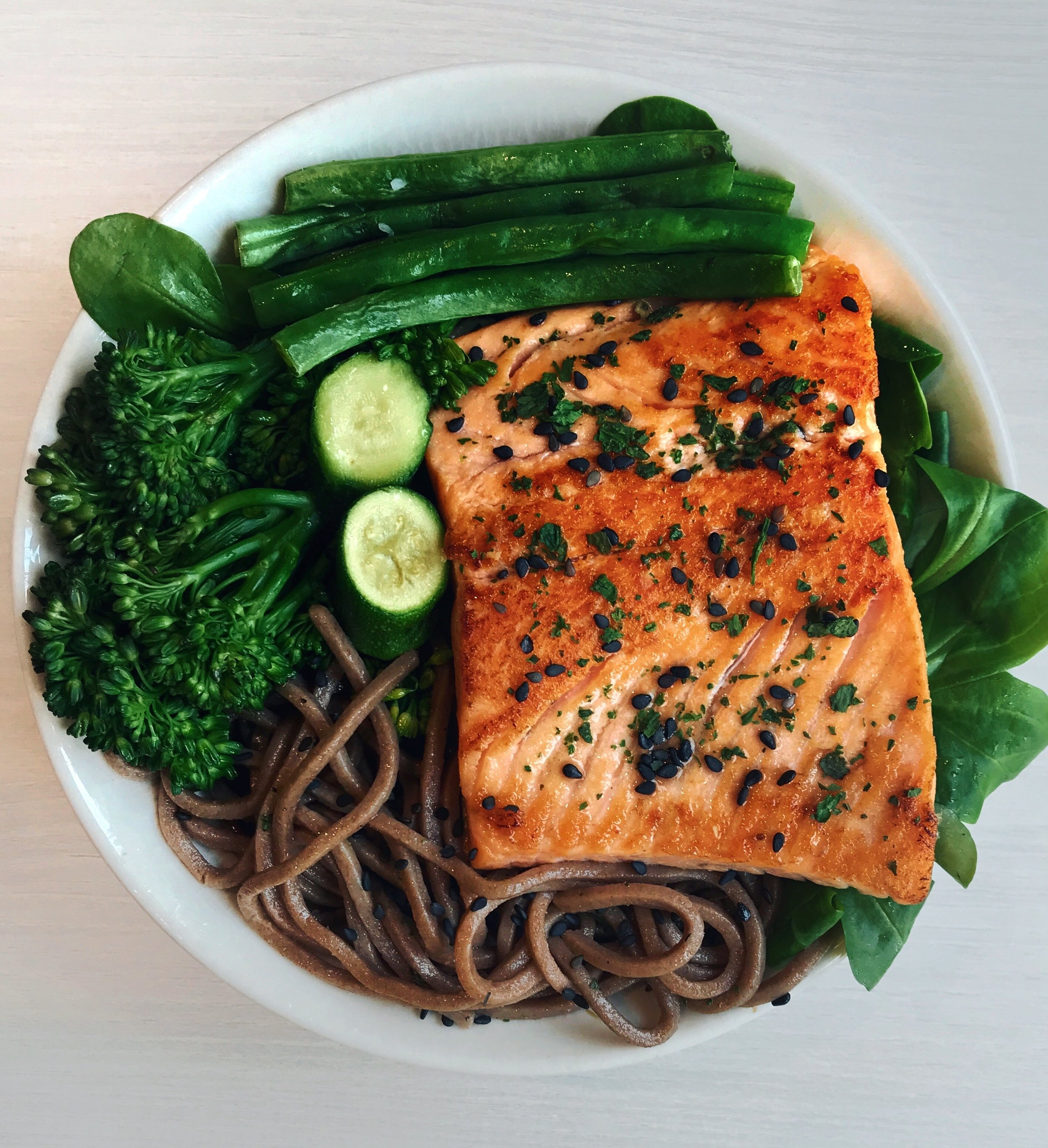 Grilled Salmon, Noodles & Mix Greens - Grilled wild salmon (cooked in olive oil for about 3mn on each side)+wholewheat noodles (boiled for about 6min in water)+ steamed broccolini (steamed for 10min) + leafy greens + zucchini (steamed as well for about 10min)+ green beans (steamed for 10min).Quick tip on cooking salmon: to get a crispy skin + golden color on the salmon, I recommend starting the cooking on high heat, and putting the non-skin part first. After 1min turn back on low/medium-heat, cook 2 extra minutes and flip + leave to stay for about 3min more.