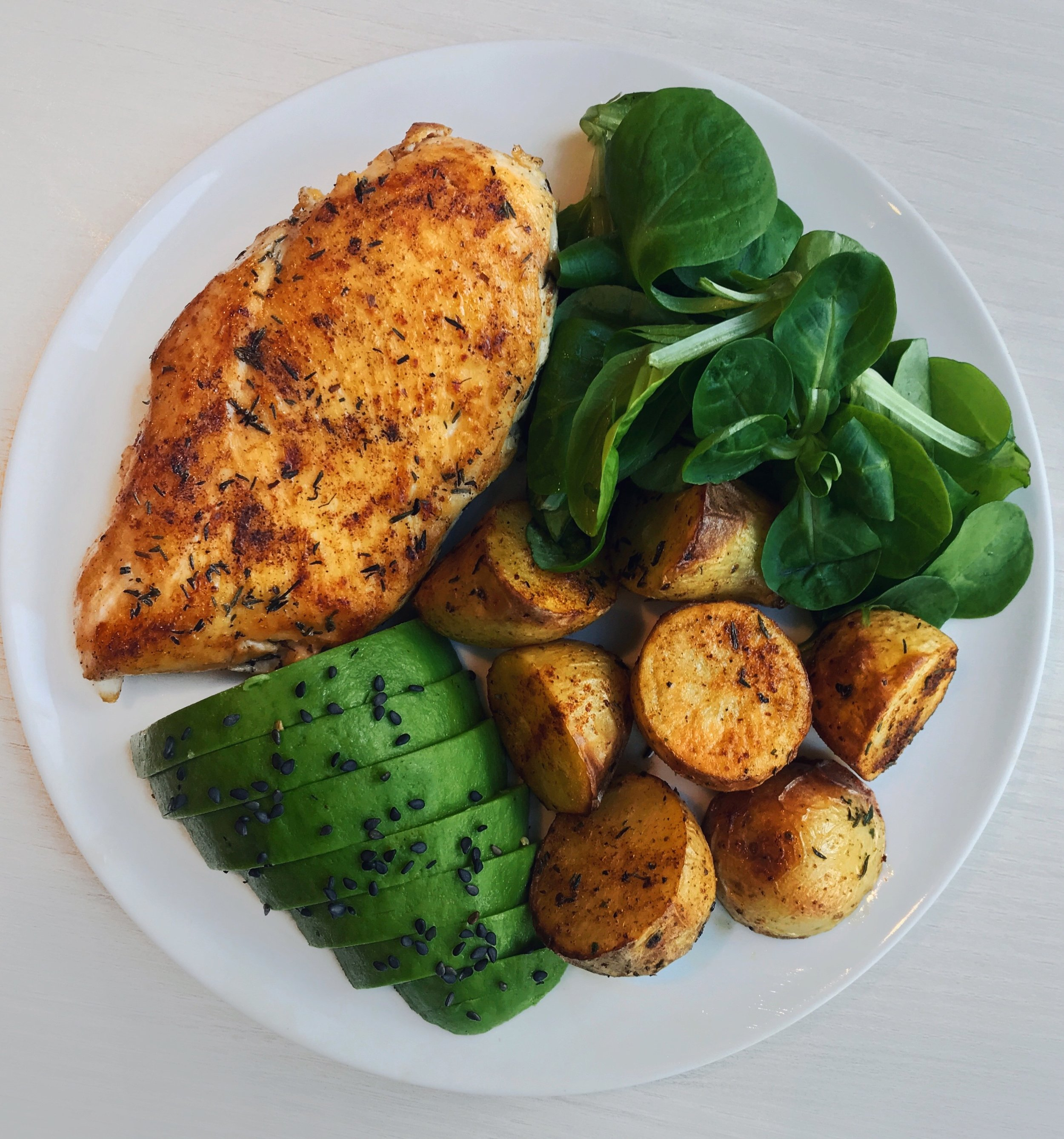 Chicken, Roasted Potatoes, Avocado & Salad