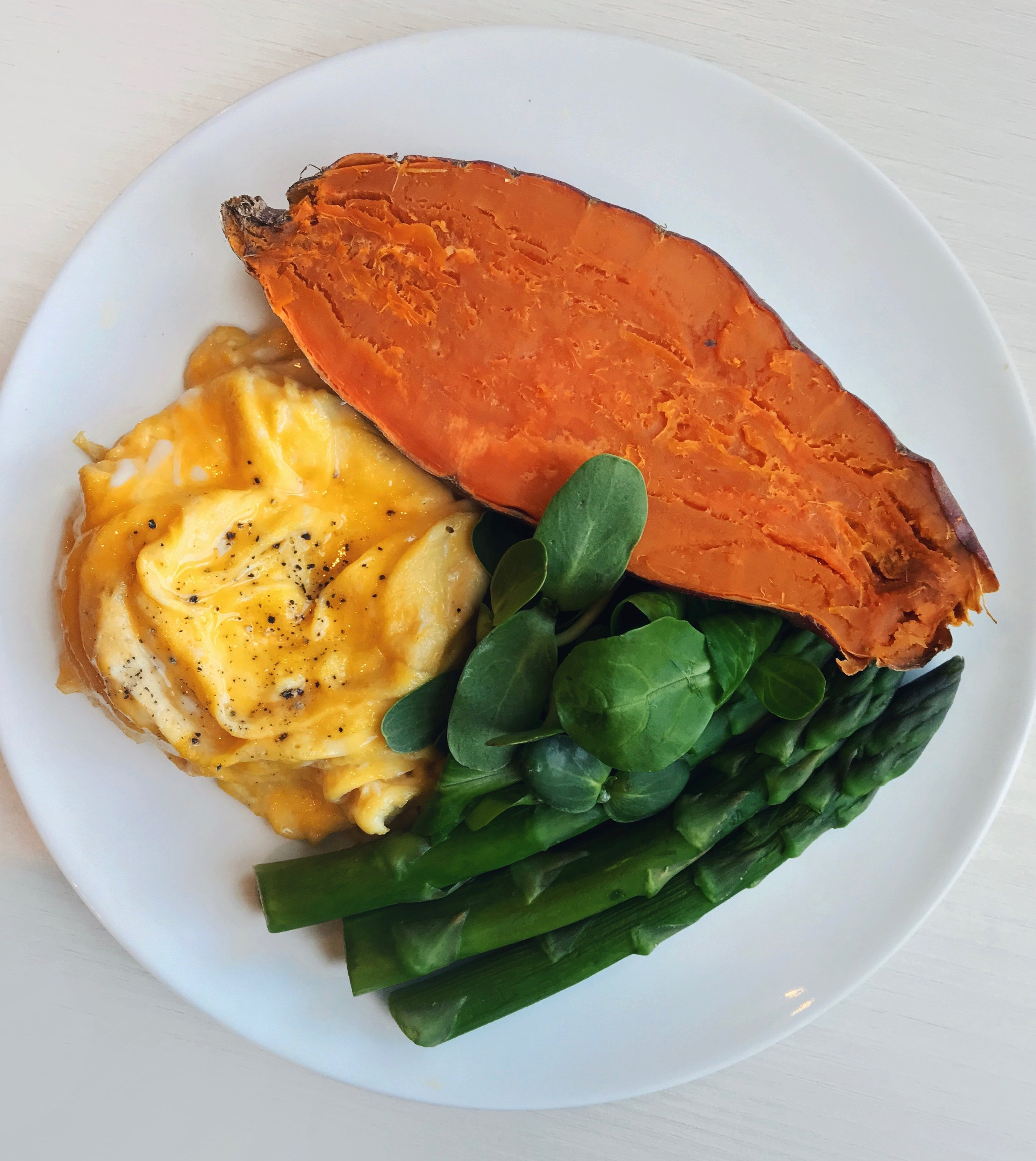 Roasted Sweet Potato, Scrambled Eggs & Greens  - Baked sweet potato (baked for about 30mn in the oven at 390F/200C) + steamed asparagus + scrambled eggs (directions in the tutorial section) + microgreens + saladIf lacking time and if you have one, you can also cook it in a microwave for about 5min in a humidified paper towel.