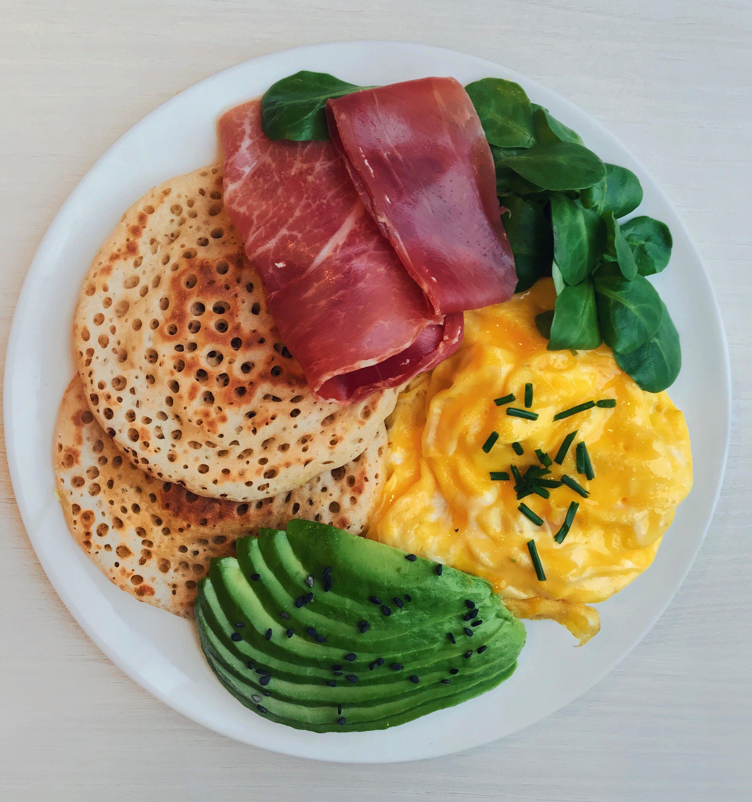 Pancakes, Eggs, Avocado & Ham