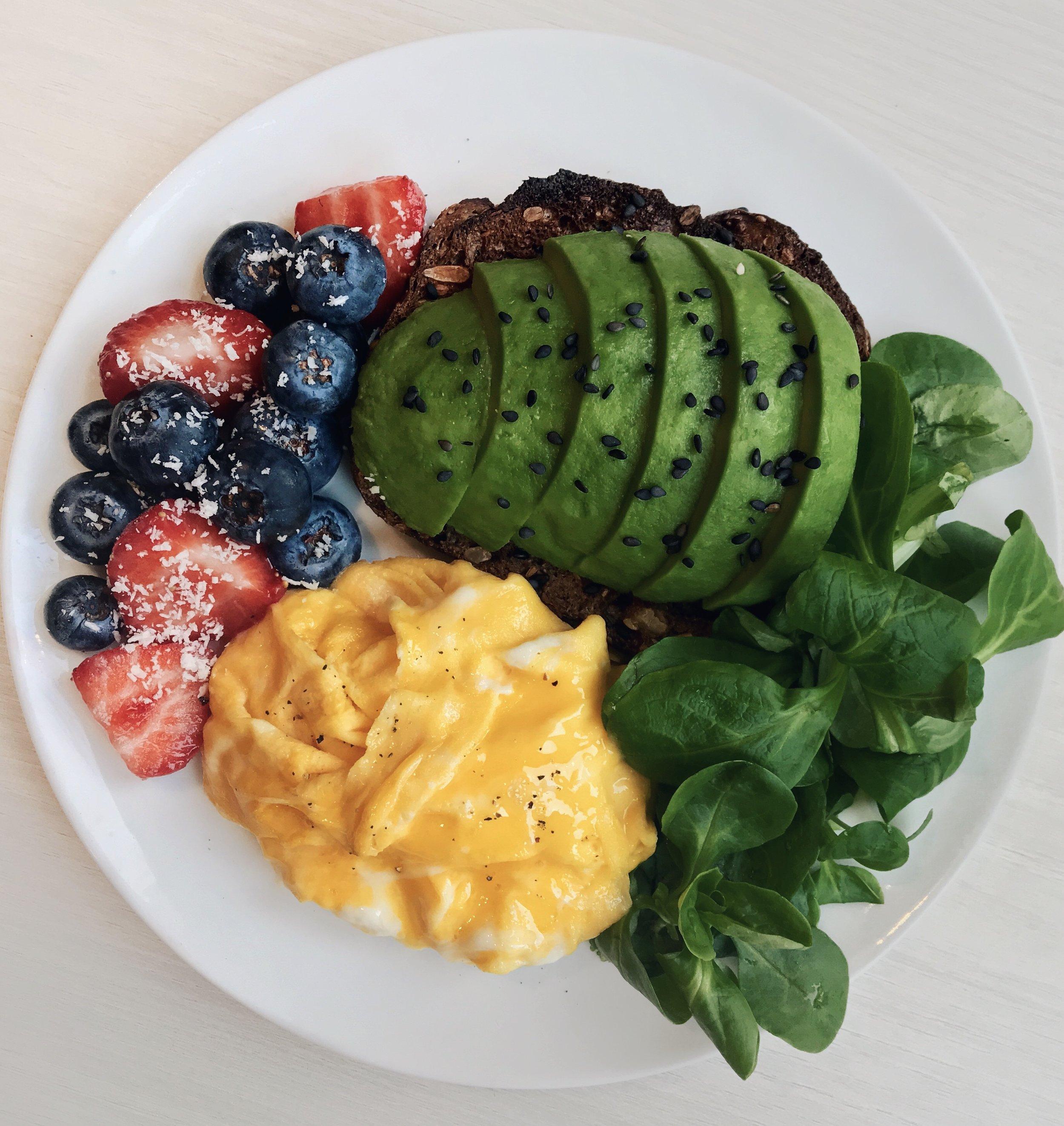 Avocado Toast, Eggs & Berries