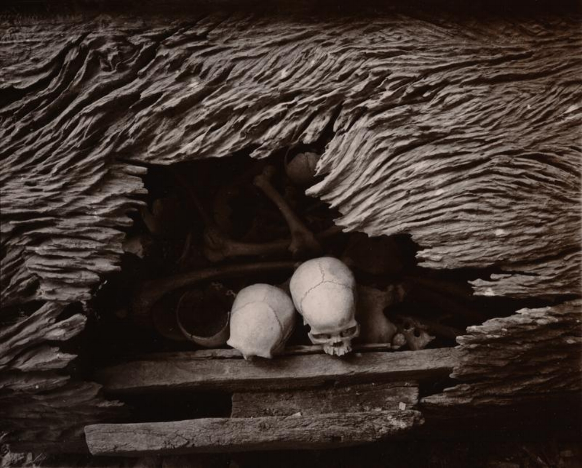 "Linda Connor, SKULLS IN AN ERODED COFFIN, TORAJA, SULAWESI, INDONESIA, 1997, archival pigment print, 16"" x 19.625"" ed: 15"
