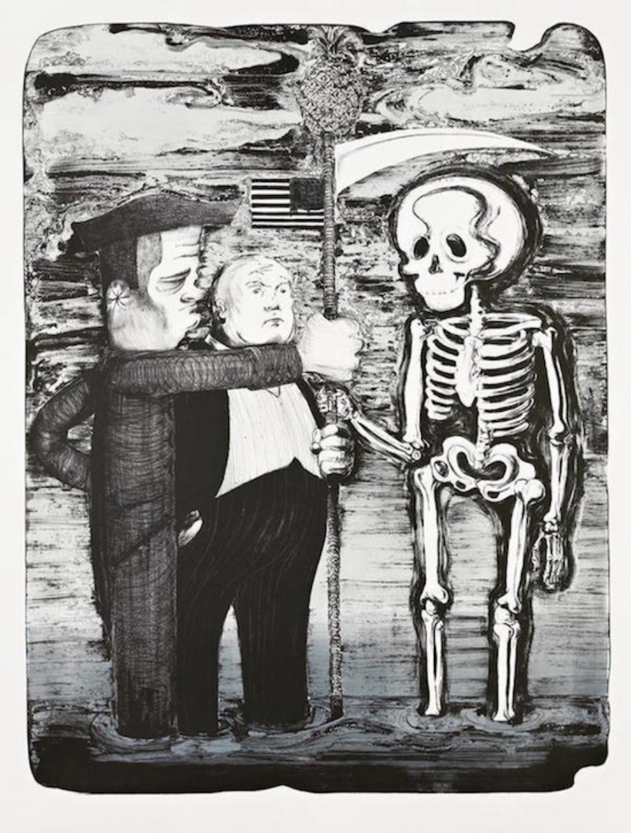 "Nicole Eisenman, TEA PARTY, 2012, lithograph, 48.75"" x 37"" ed: 25"