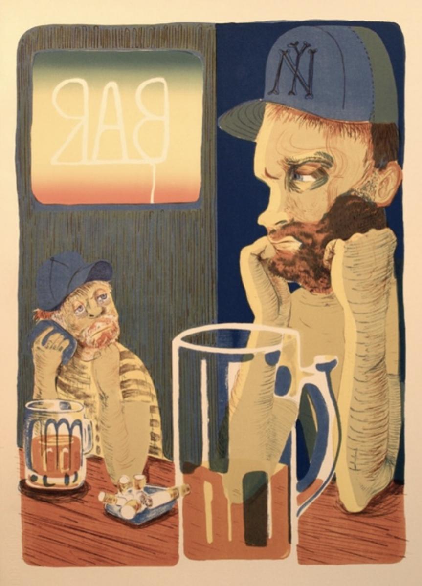 """Nicole Eisenman, BAR, 2012, lithograph, 30.75"""" x 23.5"""" ed: 25"""