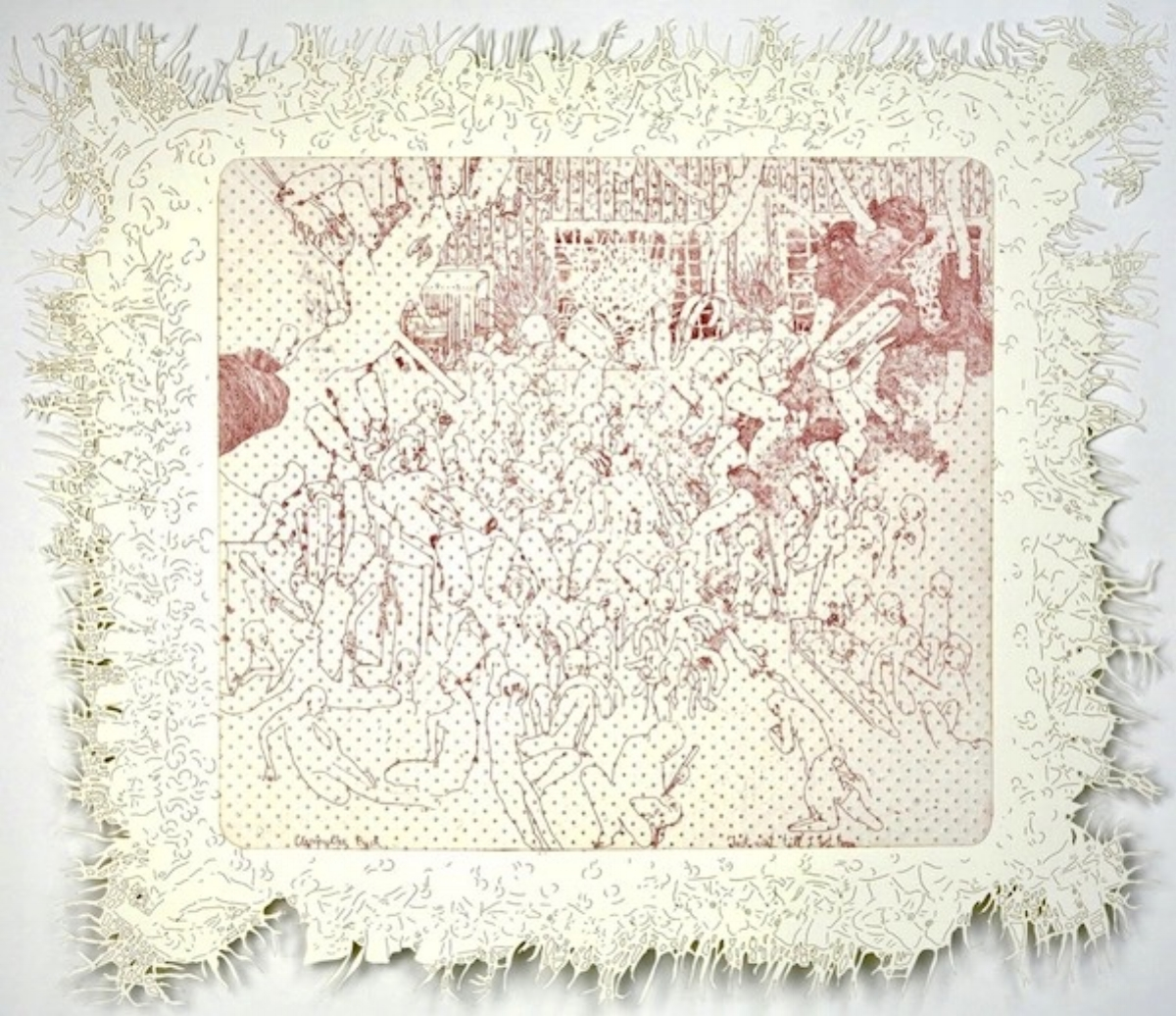 """Dasha Shiskin, I WANNA BE WELL I (I THINK WE COULD DO WITH OUT GIRLS), 2007-2008, intaglio and engraving, 22"""" x 26"""" ed: 15"""