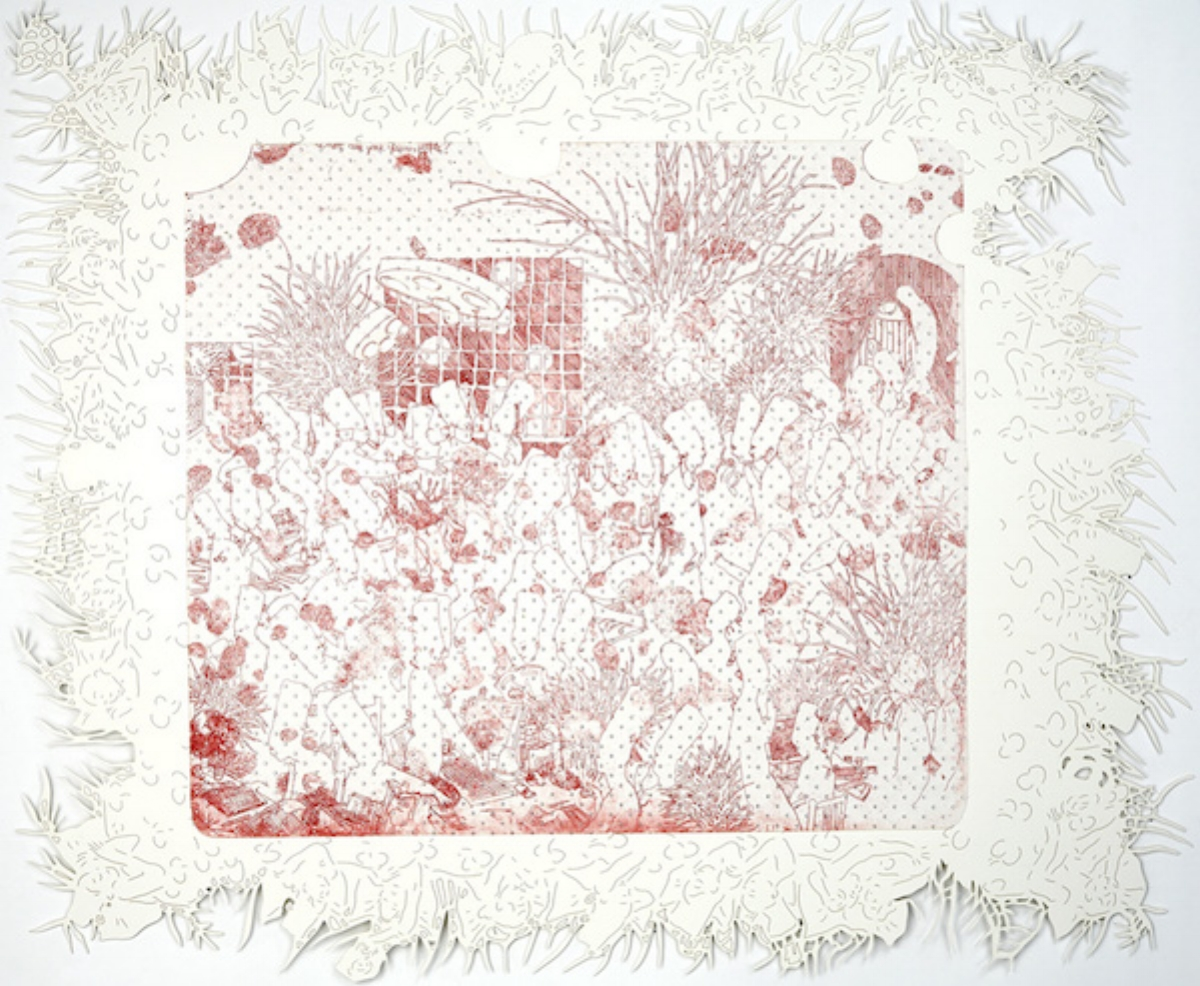 """Dasha Shiskin, I WANNA BE WELL IV (WHERE ARE YOUR GLASSES PEOPLE?), 2007-2008, intaglio and engraving, 22"""" x 26"""" ed: 15"""