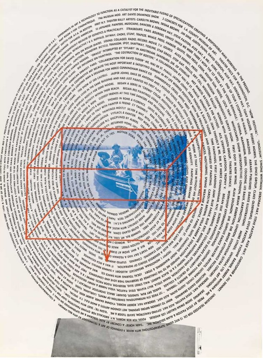 """Robert Rauschenberg, AUTOBIOGRAPHY (SECOND PANEL), 1968, signed offset lithograph on three sheets of paper, 66.25"""" x 48.75"""" (198.75"""" x 48.75"""" overall) ed: 2000"""