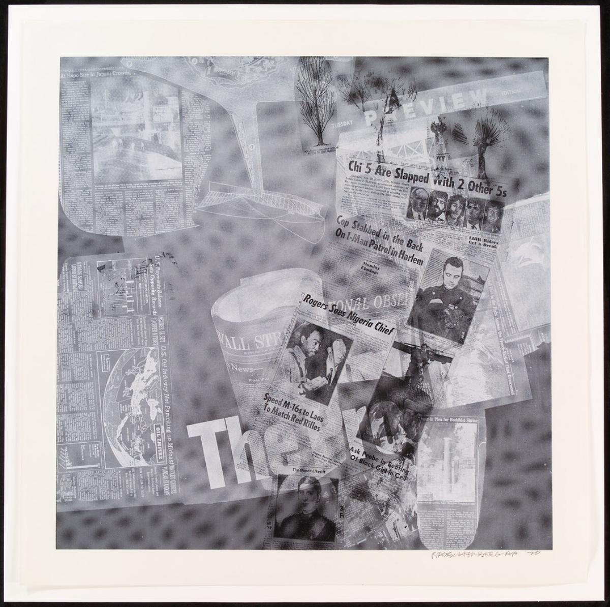 """Robert Rauschenberg, SURFACE SERIES FROM CURRENTS, 1970 [Foster 114], silkscreen, 40"""" x 40"""" ed: 100"""