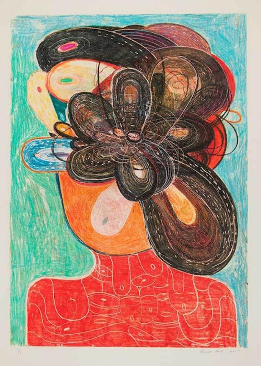 "Richard Hull, COMB, 2015, monotype, 30"" x 22"""