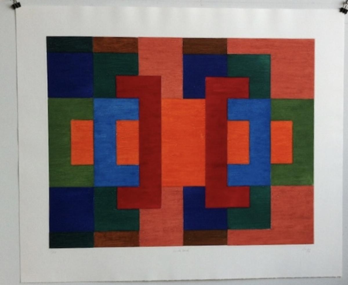 """Vincent Longo, DOUBLE BACK, 1992, carborundum, 27.5"""" x 35"""" ed: 10"""