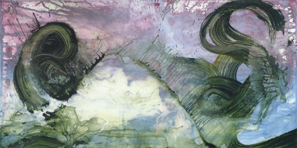 "Jonathan Feldschuh, LARGE HADRON COLLIDER #5, 2007, acrylic and pencil on mylar, 38"" x 84"""
