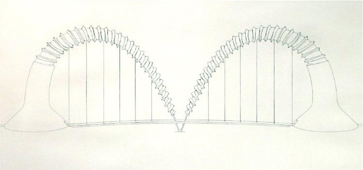 "Claes Oldenburg, DOUBLE SCREWARCH BRIDGE (STATE I), 1980 [Axsom/Platzker 172], etching, 31.25"" x 57.75"" ed: 15"