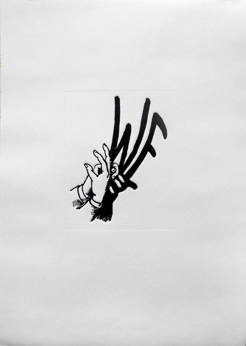 """Jaume Plensa, WE, 2016, letterpress polymer on Moulin du Gué, 16"""" x 22"""" ed: 14"""
