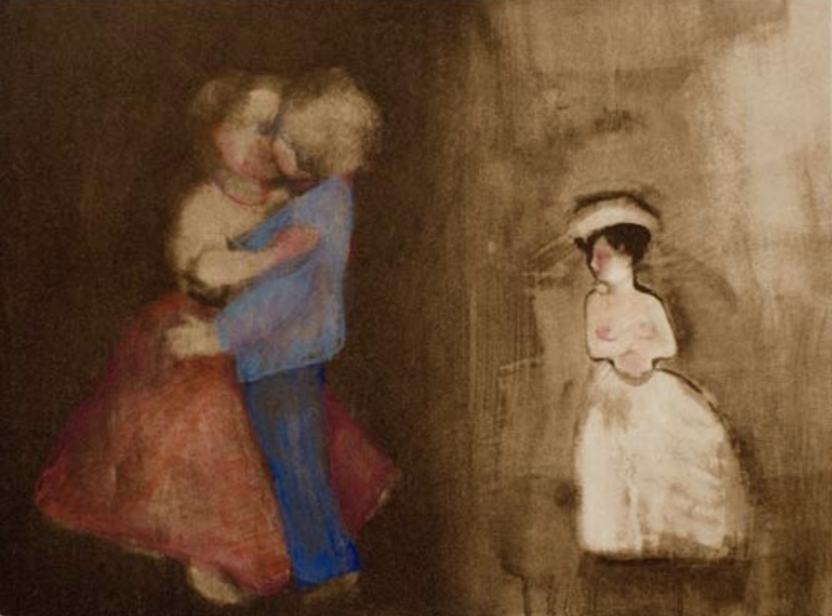 "Ellen Phelan, A DOLL, HER STORY (THE KISS: BETRAYAL), 1995, portfolio of eight photogravures with hand coloring, 13"" x 16"" ed: 28"