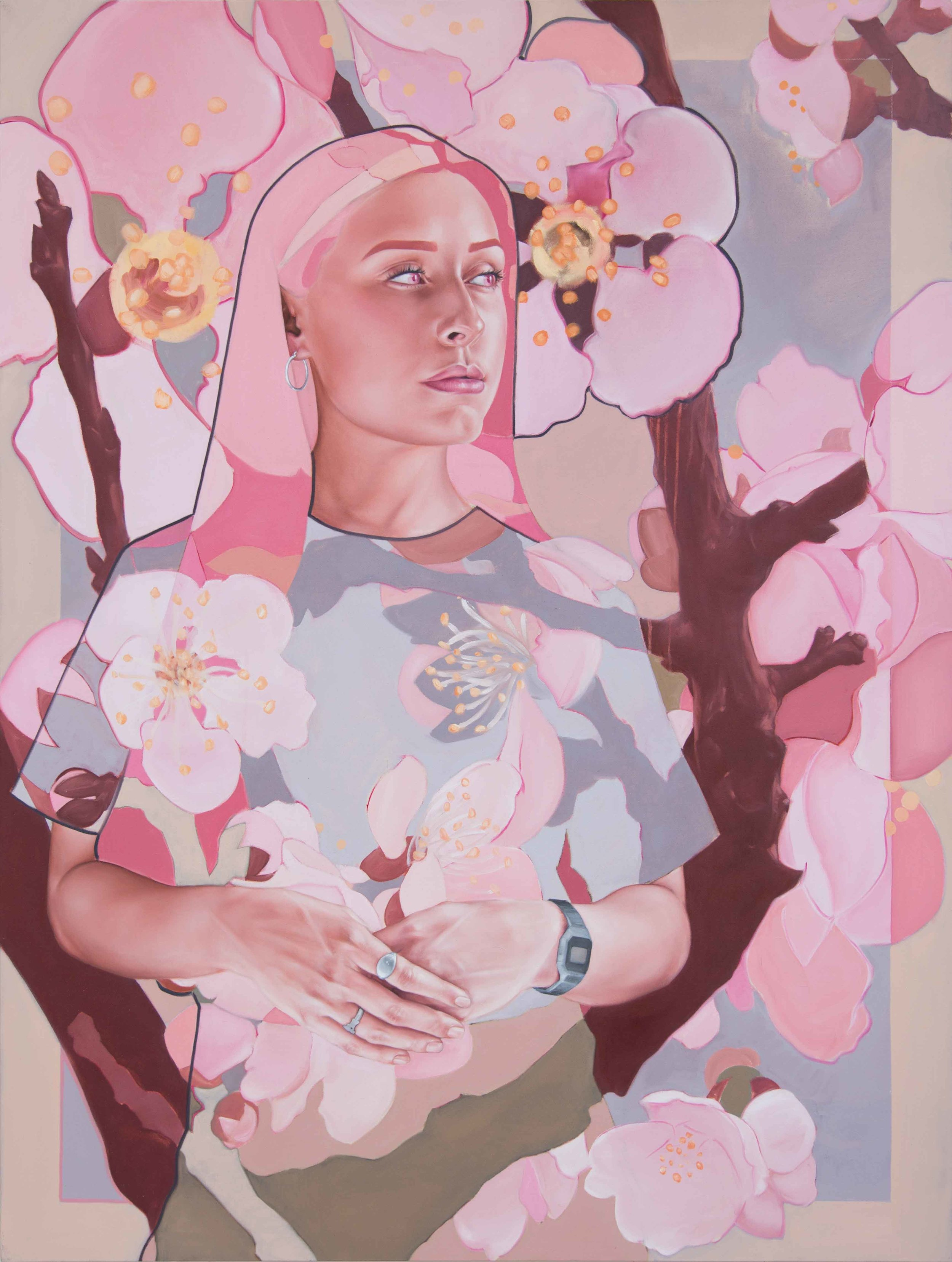 Lady and the Cherry Blossoms 135x102cm.jpg