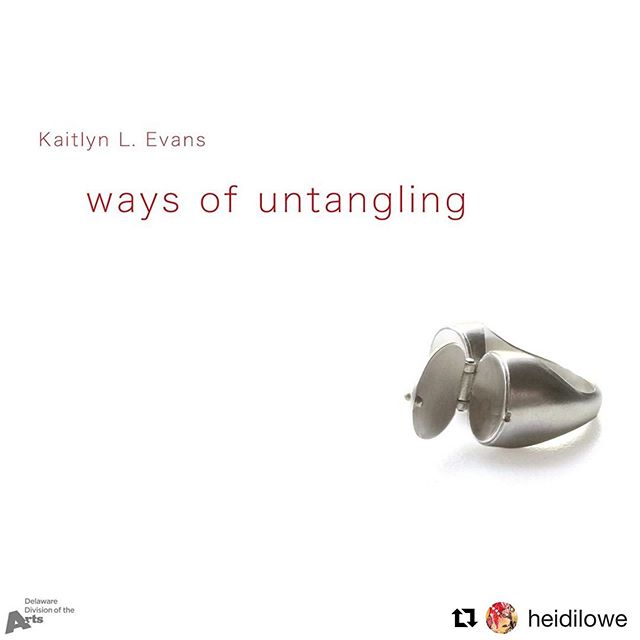 #Repost @heidilowe ・・・ Ways of Untangling, featuring new work by @kaitlynlevans, opens Saturday, August 3. . Kaitlyn is the recipient of an Individual Artist Fellowship from the Delaware Division of the Arts. Her exhibition is supported, in part, by a grant from the Delaware Division of the Arts, a state agency, in partnership with the National Endowment for the Arts. The Division promotes arts events on DelawareScene.com . #heidilowegallery #wearcooljewelry #knotimpressed #waysofuntangling #signetring #contemporaryjewelry #rehobothbeach #ilovelewes #happyhour #delawaredivisionofthearts @neaarts