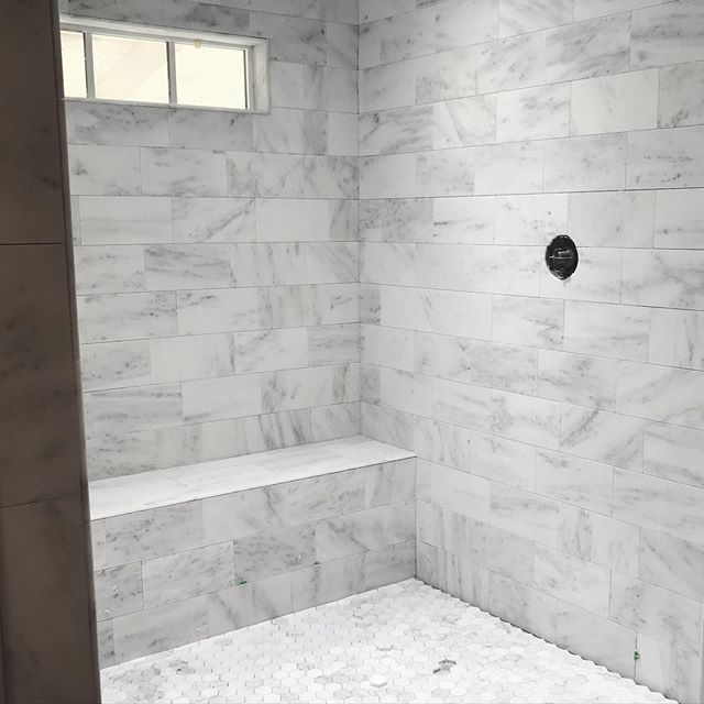When a client wants marble, we give them marble! Just wait until you see this master bathroom finished 😍 a few more peeks at #modernantebellum on stories today