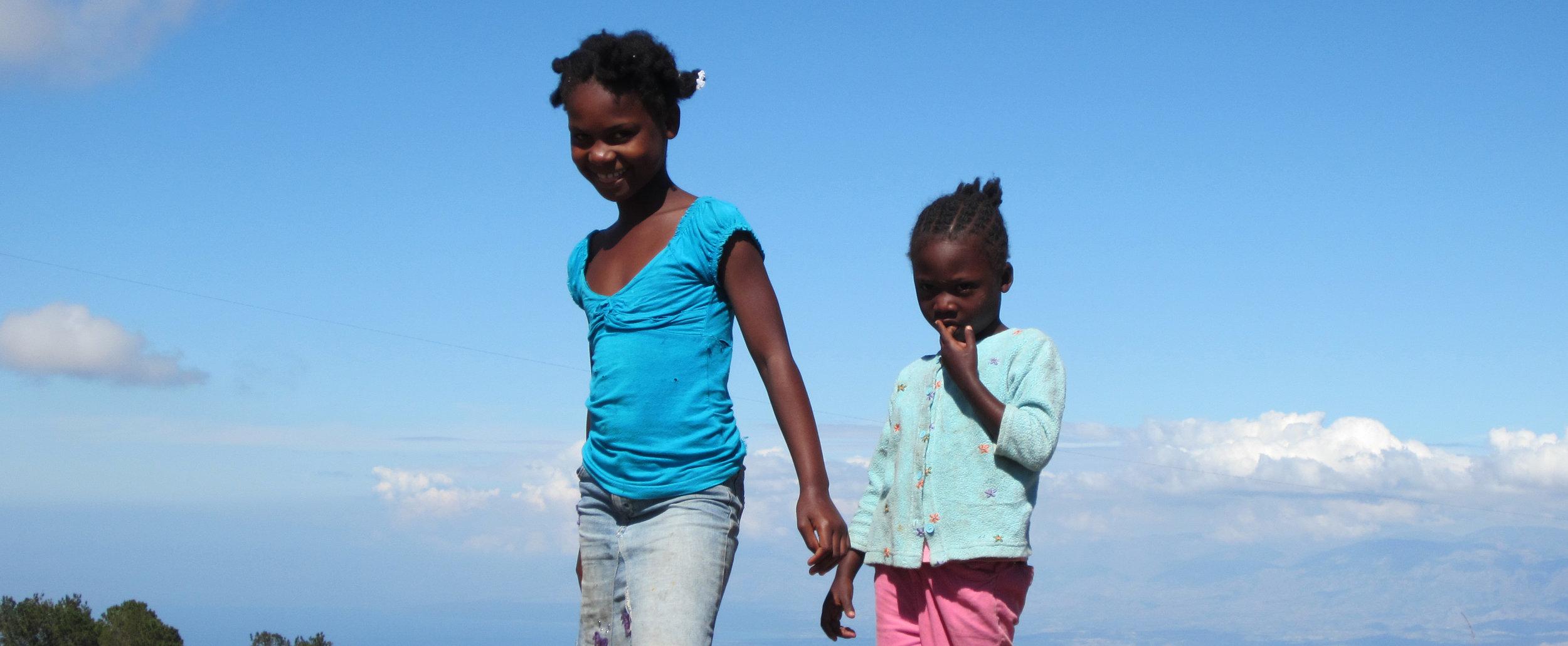 Girls playing near Port-au-Prince, Haiti