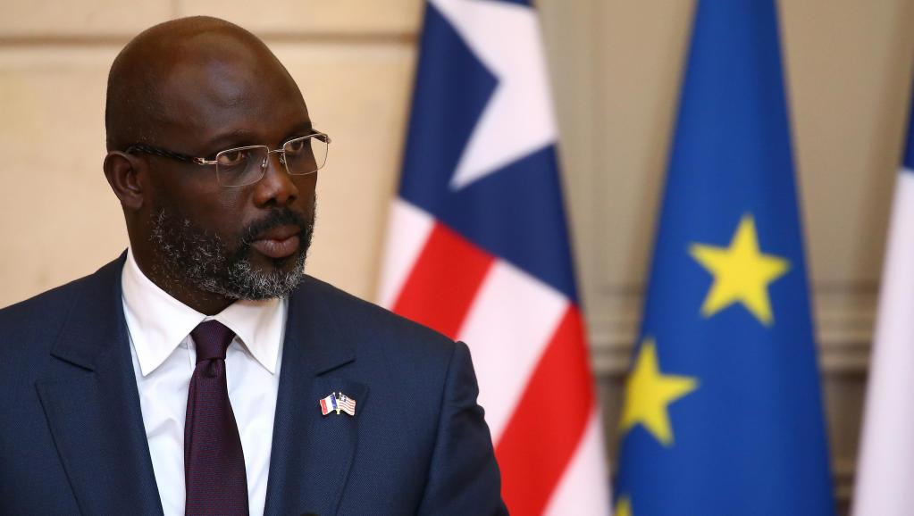 Liberia  President George Weah at a joint press conference at the Elysee Palace.