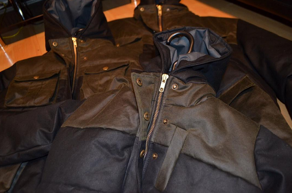 Wax cotton puffer coats - A trio of coats for father and sons