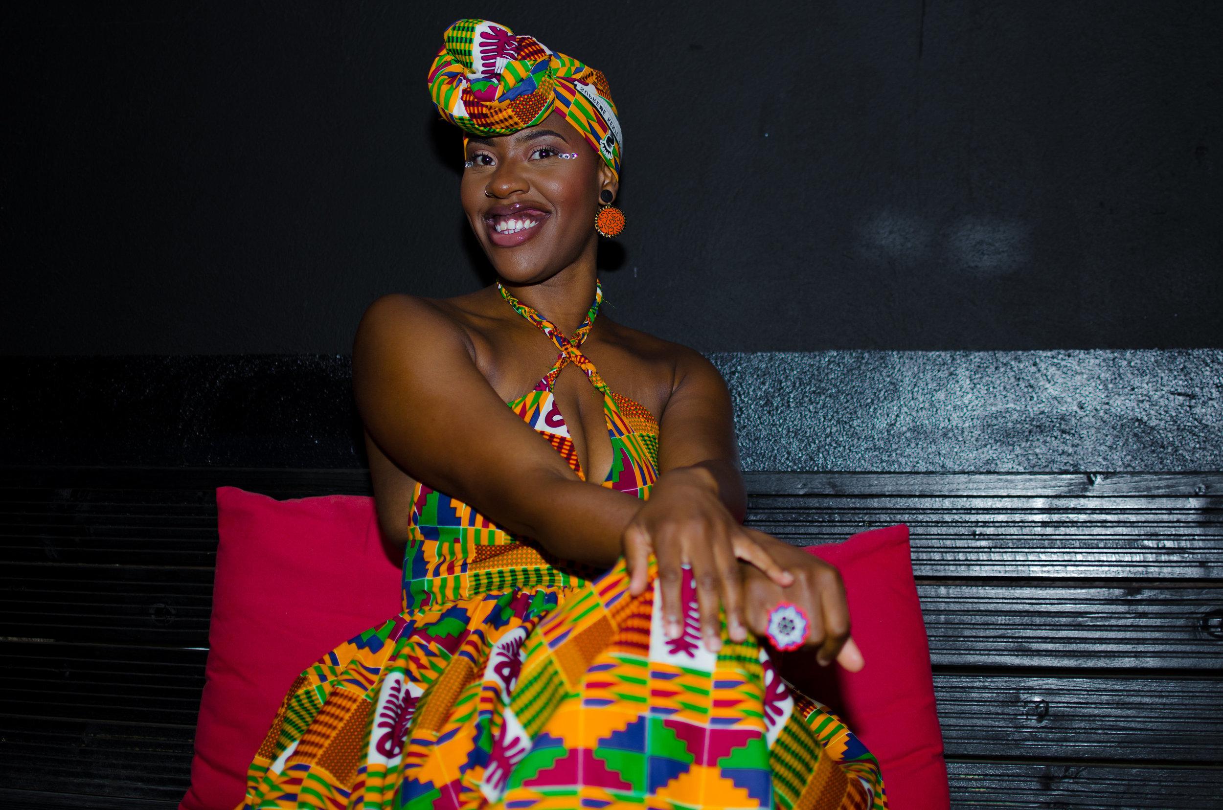 Shada'sAfrican-themed 30th birthday - Bespoke Kente dress