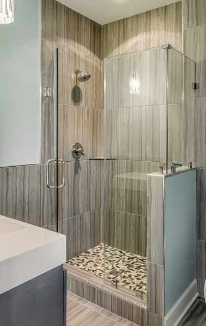 Walk-in shower with glass door