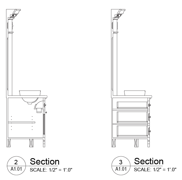 """The sections are cut in two locations and these locations are shown on the plan with a """"cut line"""" and an arrow showing where the cut has been made and which way we are looking at the section."""