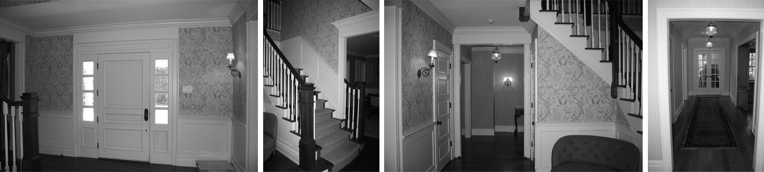 Before: front entry to stair hall; original stairway and newel posts (compare to post-renovation newel posts below); stair hall views prior to renovation