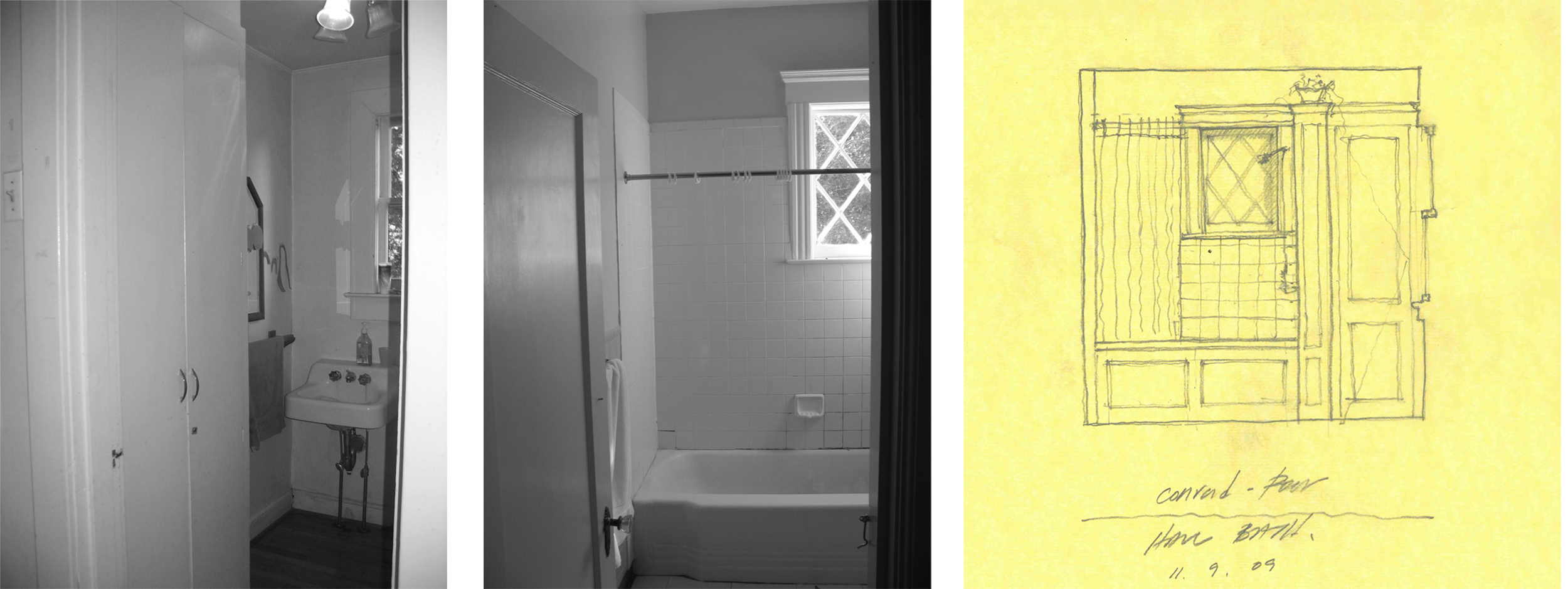 Powder room and third floor bathroom, (before renovation) with schematic drawing by Marvin Clawson of new third floor bathroom