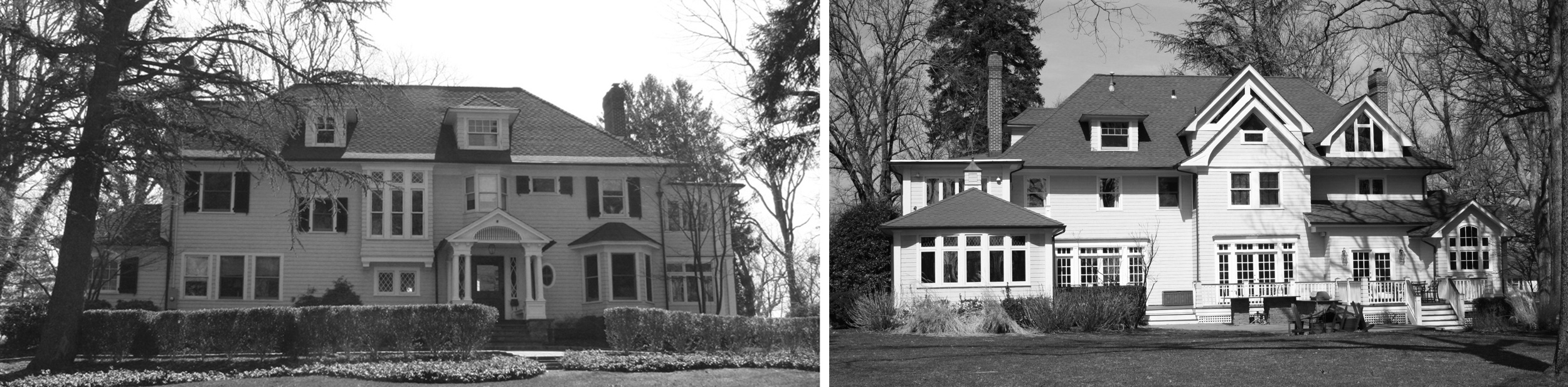The original house, front and back prior to demolition.