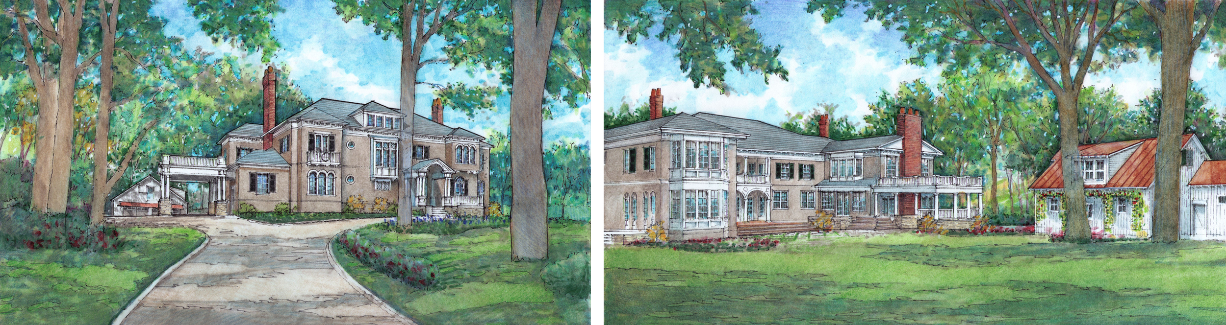 Renderings of new front (with porte-cochere) and back of house, created for variance submittal