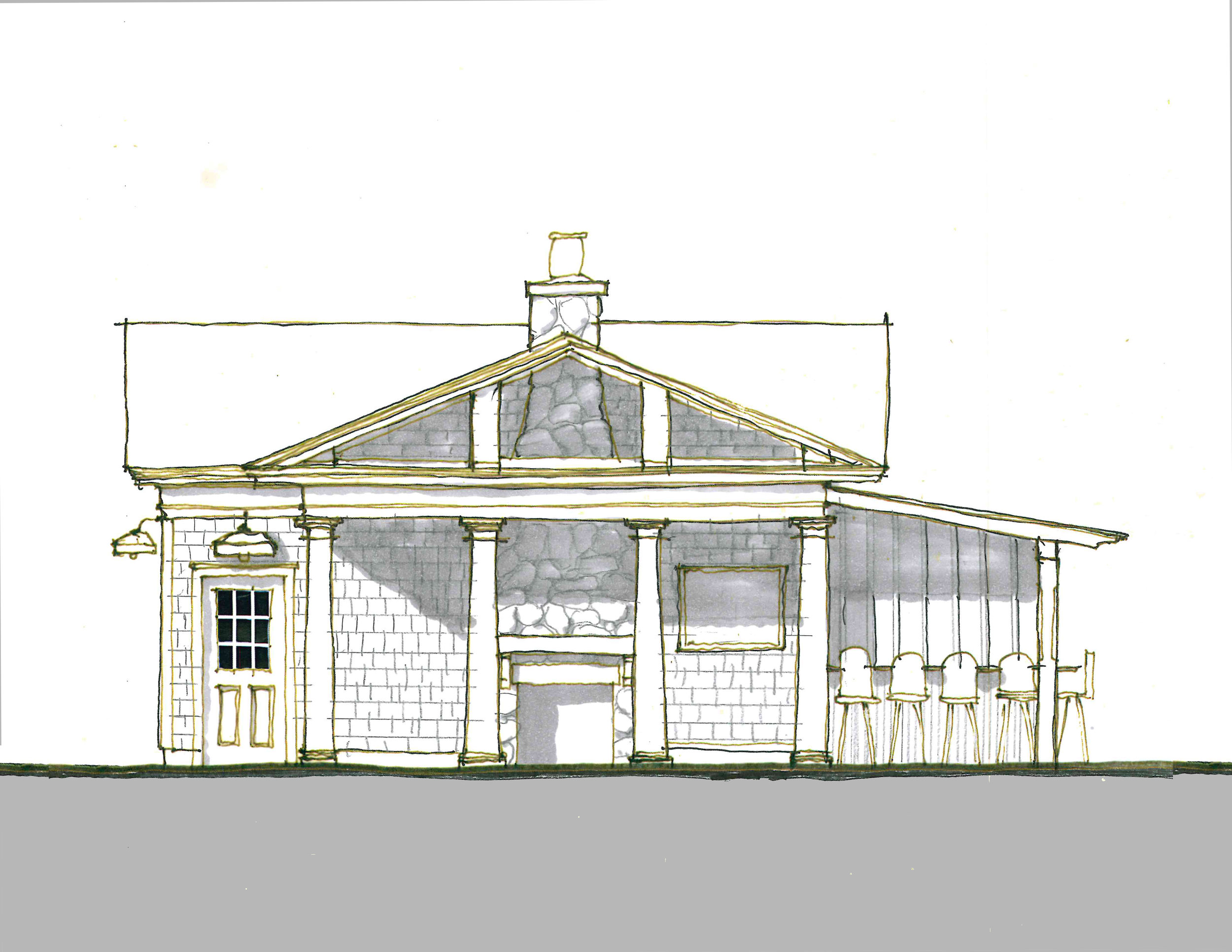 Schematic Design. Existing Garage is being developed and expanded to include the covered porch with fireplace and outdoor kitchen.  This accessory building will also house pool equipment storage while continuing to serve as a garage.