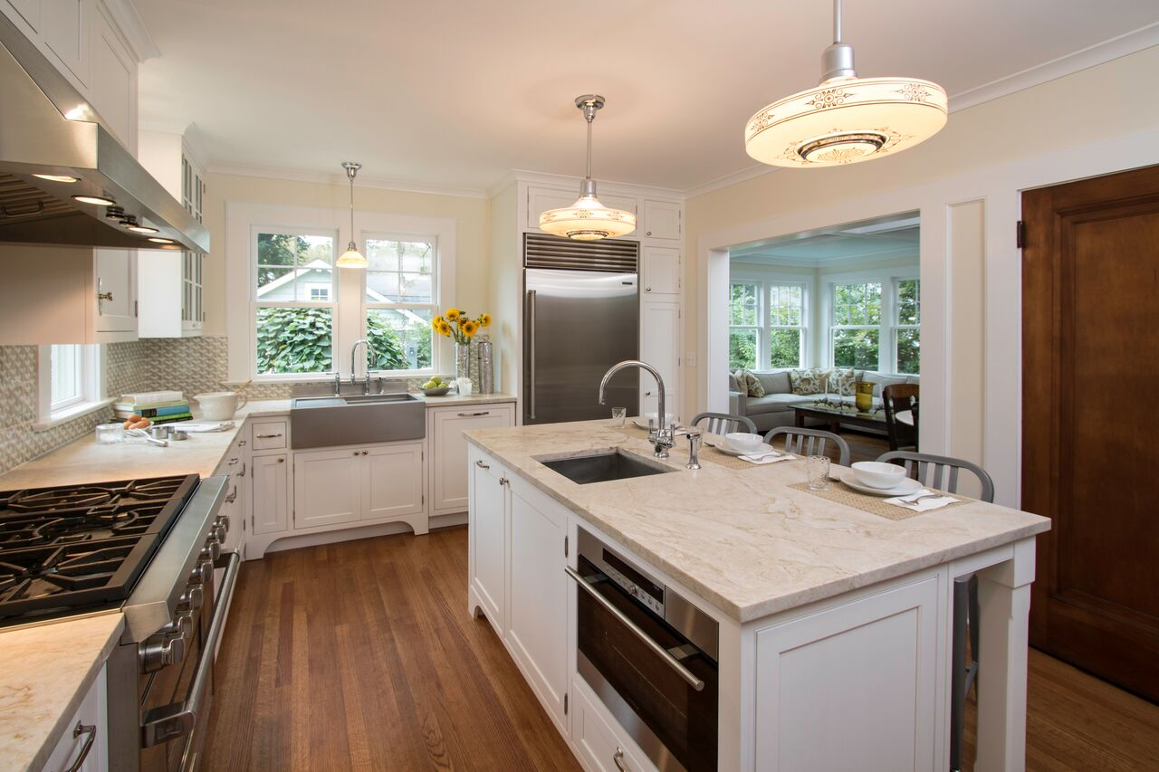"New Appliances included a Wolf steam oven in the island, a 36 in gas Wolf range, a 36"" Sub Zero refrigerator and paneled Kitchen-aid dishwasher and Best hood. Counters are Taj Mahal Quartizite. Hardware by Amerock. for more details about the kitchen visit   Clawson Cabinets on Houzz."