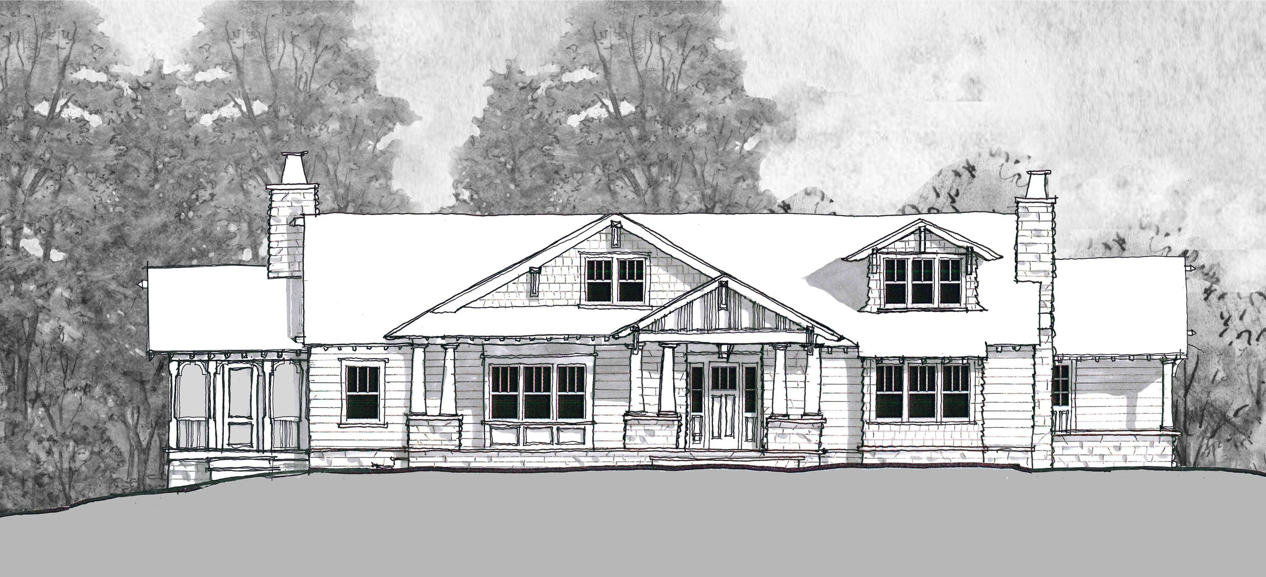 Proposed Front Facade to a former Ranch Style home in South Orange, NJ