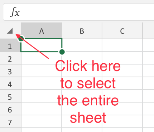 To select all the data on the current sheet in Excel, click on the small square at the top left