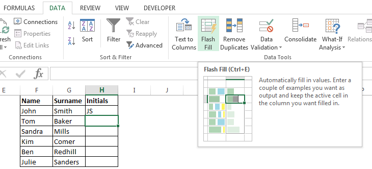 Excel's Flash Fill feature