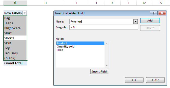 Adding a calculated field in a Pivot Table: