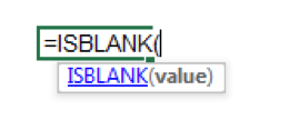 Enter ISBLANK to start the function