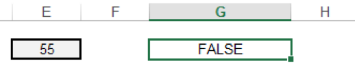 Enter data into the cell, and the function's output changes from True to False