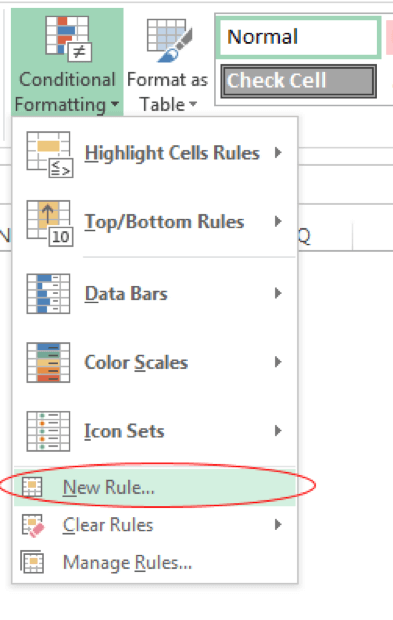 Select the New Rule option under Conditional Formatting