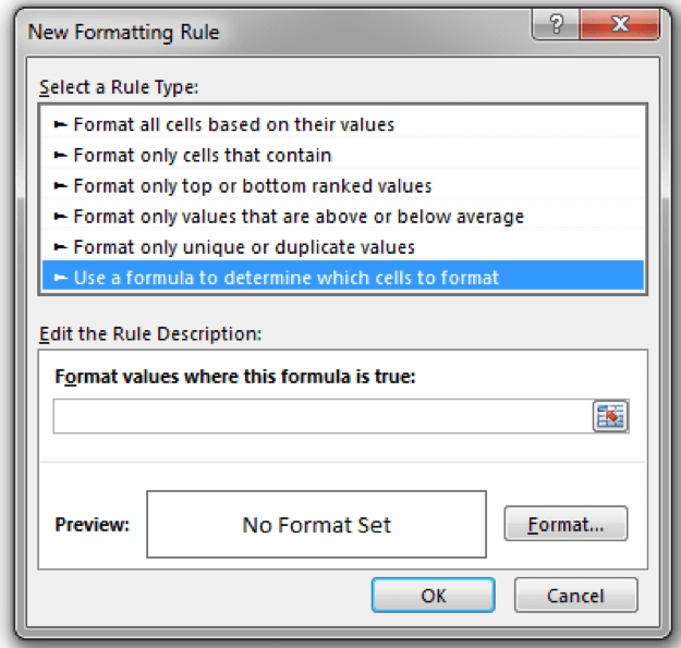 Select the type of Conditional Formatting to create