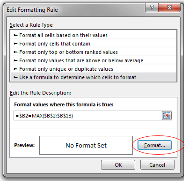 Select the Format button