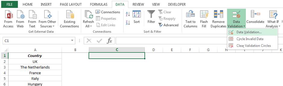 Locate the Data Validation menu