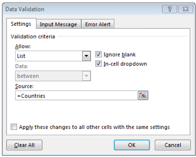 Set the Data Validation to a drop down list