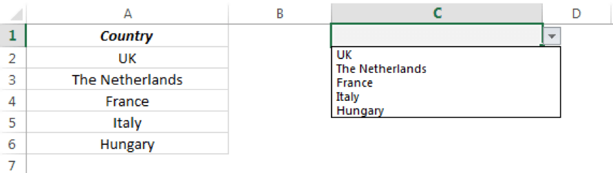 The default drop down will display the existing list.